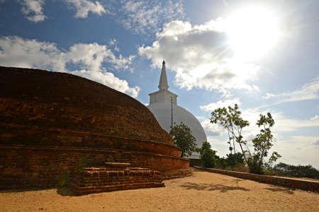 anuradhapura: Mahaseya Dagoba in Mihintale  holy site in Sri Lanka, near Anuradhapura  in back lit condition