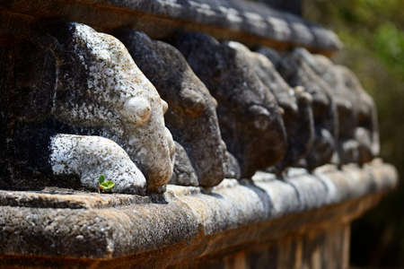 Detail  selective focus  of elephant shape carved stone at Kantaka Chetiya temple in Mihintale, Sri Lanka Stock Photo - 16778072