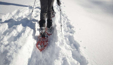 deep powder snow: Couple of people performing a mountain ascent by snowshoeing  Close up of moving snowshoes in deep tracked powder snow