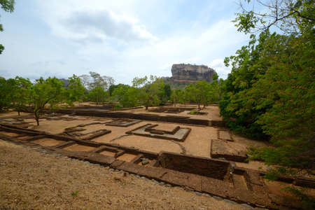 Wide angle view of Sigiriya rock, Sri Lanka photo