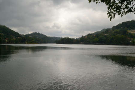 Wide angle view of the lake in the city of Kandy, home of The Temple of the Tooth Relic, Hill Country, Sri Lanka Stock Photo - 17076030