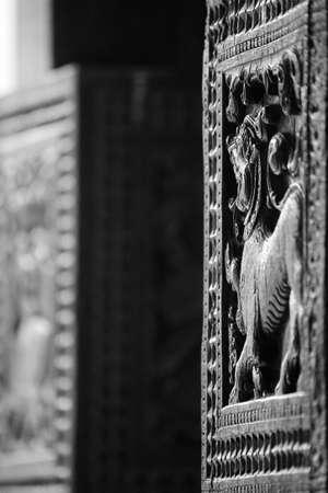 subcontinent: Embekka Devale, wood carved temple near Kandy, details