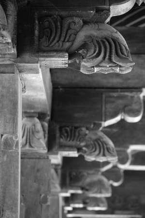 Embekka Devale, wood carved temple near Kandy, details Stock Photo - 17076133