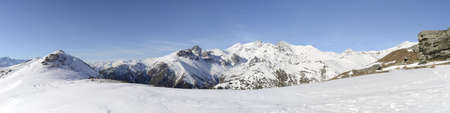 stitched: Panoramic view of high altitude mountain range in Susa valley, Piedmont, italian Alps  5 single horizontal photos stitched  Stock Photo