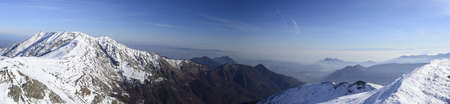 Panoramic view of the Alps near Turin, Italy, overlooking the large plateau of Piedmont  6 single horizontal photos stitched   Stock Photo - 17167038