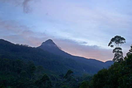 pada: View of Adam s Peak, also known as Sri Pada, at dusk  Sri Lanka