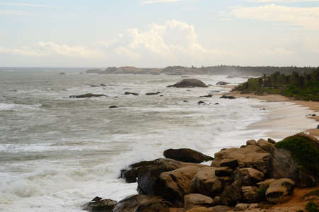 Wild and rough coastline in south Sri Lanka near Yala National Park in monsoon time  Stock Photo
