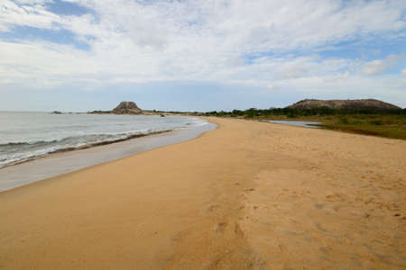 Coastline and desert beach in Yala National Park, south east Sri Lanka  photo