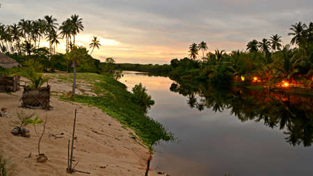 backwaters: Tangalla backwaters sunset, Sri Lanka Stock Photo