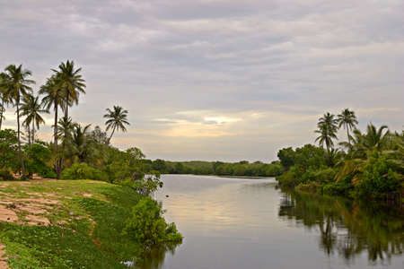 Tangalla backwaters at sunset, Sri Lanka Stock Photo