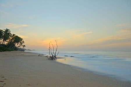 Wonderful sunset on Tangalla beach, Sri Lanka, blurred motion effects on waves   Stock Photo