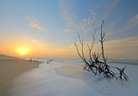 Wonderful sunrise on Tangalla beach, Sri Lanka, blurred motion effects on waves