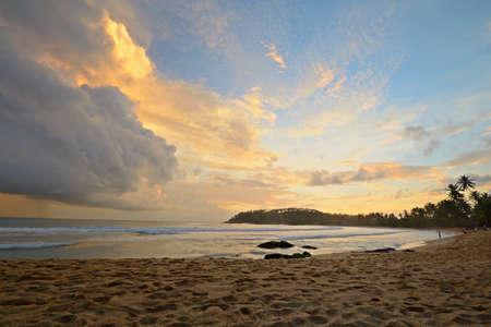 Monsoon clouds at sunset, Mirissa beach, Sri Lanka Stock Photo - 17610340