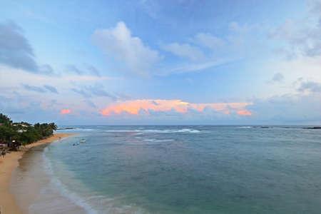 Blurred seascape, long exposure taken on tropical beach during monsoon time at dusk, Unawatuna, Sri Lanka Stock Photo - 17610338