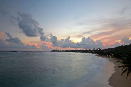 Blurred motion shot taken on tropical beach during monsoon time at dusk, Unawatuna, Sri Lanka Stock Photo - 17723278
