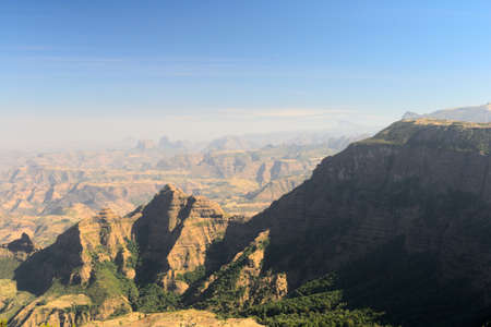 Wide angle view from the Simien Mountain National Park in the dry season Stock Photo - 17723423