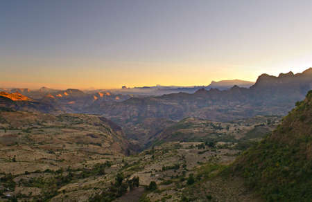 Ethiopian landscape at dawn descending from Simien Mountains towards Axum