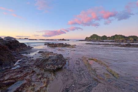 coastal feature: Blurred seascape at dusk, long exposure taken on Otamure Bay, New Zealand