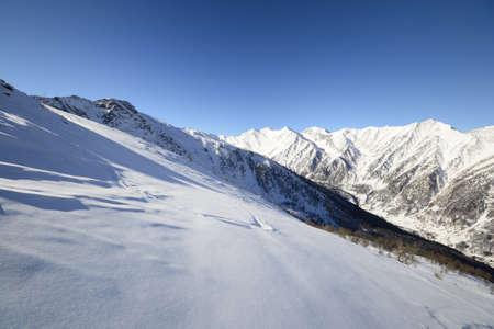 snowcapped: Winter scenic landscape in the italian Alps Stock Photo