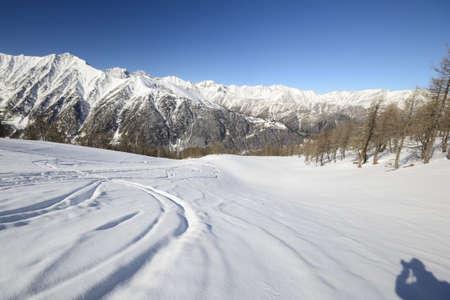 snowcapped: Ski alpinist on candid off-piste ski slope in powder snow and scenic alpine background Stock Photo