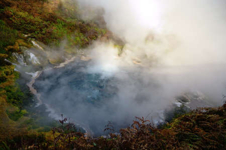 The large steaming geothermal hot spring in the Waikite Region, Rotorua district, New Zealand Stock Photo