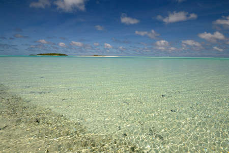 The gorgeous color of Aitutaki lagoon and his remote atolls, Cook Islands