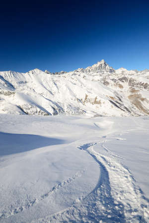 Wide angle view of tour ski ascent track with majestic view on M  Viso  3841 m  in the background Stock Photo - 18034664