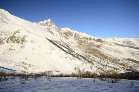 cuneo province: Morning light on the majestic Mt. Viso  3841 m  in winter