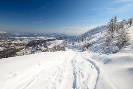 mountainscape: Back country ski tracks in scenic winter mountainscape with candid slope covered by thick powder snow