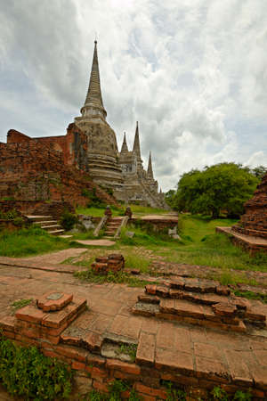 Wat Phra Si Sanphet, ancient temple complex in Ayuthaya in monsoon season, Central Thailand  photo
