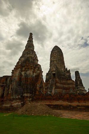 Wat Chaiwatthanaram, ancient temple complex in Ayuthaya in monsoon season, Central Thailand  photo