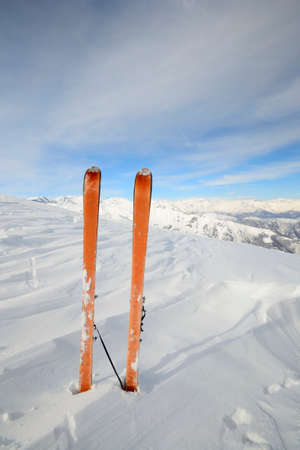 Back country ski in scenic alpine backgrounds photo