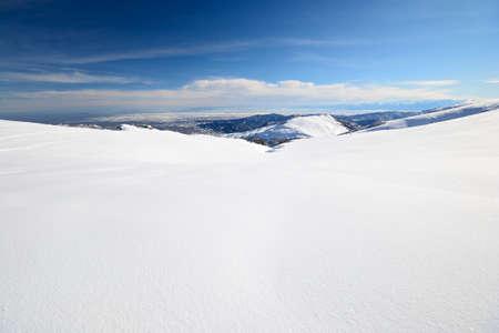 off piste: Candid off-piste ski slope in scenic