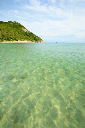 Gorgeous tropical sea with lush green coastline at Ao Haad Khuad, Koh Phangan, Southern Thailand  photo
