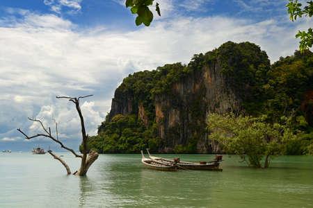 railey: Longtail barca nella suggestiva Railey Bay, Krabi, nel sud della Thailandia