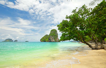 railey: High tide during monsoon season in scenic Railey Bay, Krabi, Southern Thailand  Stock Photo