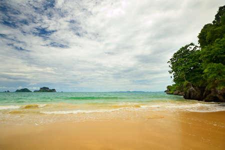 High tide during monsoon season in scenic Railey Bay, Krabi, Southern Thailand  Stock Photo