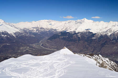 Aerial view from the top of the mountain in wonderful alpine scenery of Susa Valley  known for debated high speed train project  and Col du Mont Cenis, italian Alps  photo