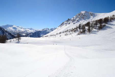 bardonecchia: Montgen�vre ski resort in majestic alpine background  Stock Photo