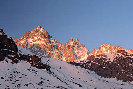 the po valley: Stunning sunrise on the majestic Monviso  M  Viso, 3841 m  in spring, Po Valley, Piedmont, Italy
