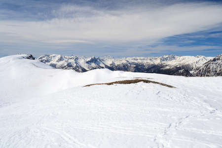 bardonecchia: Majestic peaks in a winter scenery with Sestriere ski resort in the background, Piedmont, italian Alps