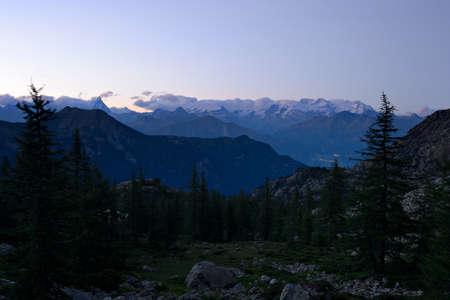 Monte Rosa and Cervino  Matterhorn  at dusk taken from Mont Avic Regional Park, Valle d Stock Photo - 28073889