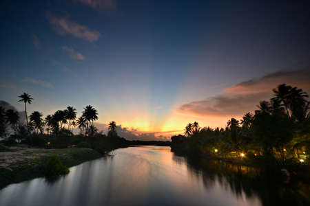 Wonderful sunset on Tangalla backwaters  Sri Lanka   High contrast effect on sunbeam and silhouette of palm trees