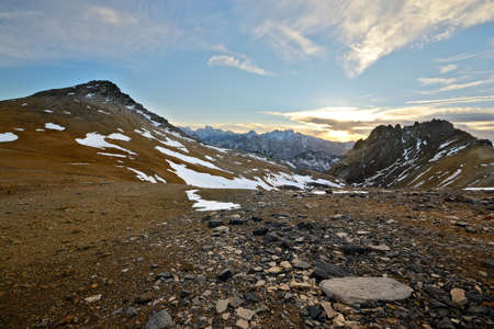 Stunning landscape at sunset from the summit of M  Thabor  3178 m  in the french Alps near the border to Italy  photo