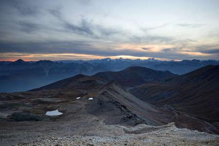 bardonecchia: Stunning sunset high in the italian Alps on an extreme rocky landscape, near Bardonecchia, Torino Province, North-West Italy