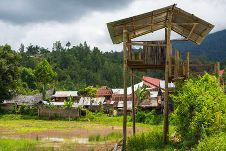 Traditional village in the remote Mamasa Valley, West Tana Toraja, South Sulawesi, Indonesia. photo