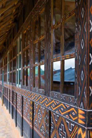 Traditional architecture (traditional house wood carvings and paitings) in Tana Toraja, South Sulawesi, Indonesia.