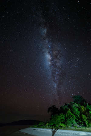 acceptable: Milky Way and clear starry sky over lush green forest and white sandy beach of Malenge, Togian (or Togean) Islands, Central Sulawesi, Indonesia. Long exposure taken at ISO 3200 with some acceptable digital noise and grain (Nikon D610).