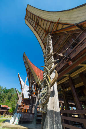 heads old building facade: Details of outstanding local architecture, wood carvings, paintings and traditional decoration with buffalo horns in Tana Toraja, South Sulawesi, Indonesia. Wide angle view from below.