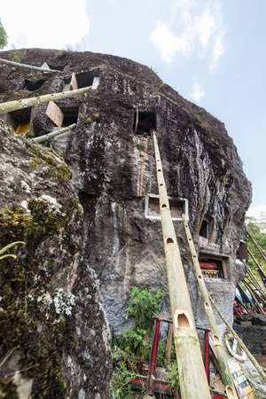 corpses: Open graves in a cliff with bamboo stairs for access during the ceremony of cleaning corpses (Manene in local language), held once in every 5 or 10 years, when local people change clothes and coffins of the corpses. Tana Toraja, Sulawesi, Indonesia. Stock Photo